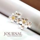 925純銀 清新多層次花朵針式耳環_質物...