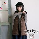 betty's貝蒂思 鋪棉拼接毛料雙層連帽背心外套(咖啡色)