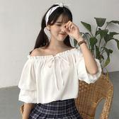 夏裝女裝韓版一字領露肩雪紡衫短袖白襯衫學生休閒百搭襯衣上衣潮『新佰數位屋』