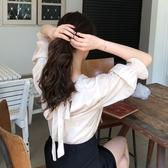 設計感小眾后背系帶V領套頭襯衣女韓版春季寬松純色短袖襯衫上衣 居享優品