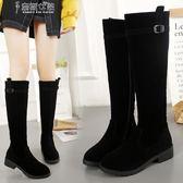仙女平底粗跟靴子長筒靴女鞋過膝靴高筒靴長靴 奈斯女裝