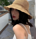 沙灘遮陽帽手工草帽女日繫編織百搭遮陽帽子防曬夏天可折疊沙灘太陽帽漁夫 遇見初晴