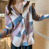 秋季新款復古港風襯衫女設計感小眾上衣寬松顯瘦長袖襯9103#ZLE35-A快時尚