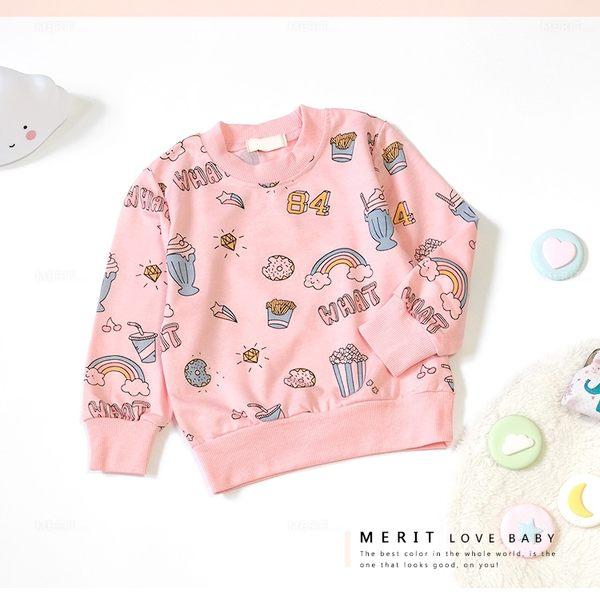 甜美塗鴉彩虹甜點爆米花長袖上衣 毛圈內裡 縮口 舒適 女童 長袖 上衣 秋冬 大學T 童裝
