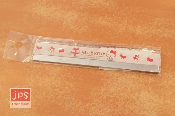 Hello Kitty 凱蒂貓 15公分鐵邊尺 禮物 蝴蝶結 白 KRT-668395