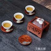 錫制杯墊杯托黑檀木隔熱圓形茶墊茶道功夫茶杯托實木杯架 QM『艾麗花園』