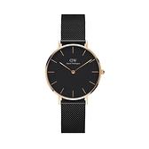 【Daniel Wellington】PETITE瑞典時尚品牌經典簡約米蘭腕錶-極致黑x玫金-32mm/DW00100201/原廠兩年保固