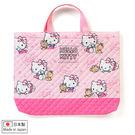 Hello Kitty手提袋 凱蒂貓與小熊日製菱格壓紋手提袋/購物袋 [喜愛屋]