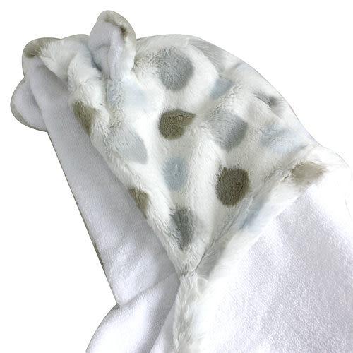 【Little Giraffe】連帽兒童毛巾-Luxe Dot 藍點