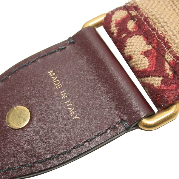 Dior 迪奧 酒紅色刺繡帆布綴鍍銀復古金屬徽章背帶Oblique Embroidery Strap BRAND OFF