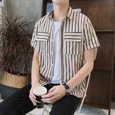 短袖條紋襯衫 條紋男寬松潮流休閒青年學生襯衣《印象精品》t351