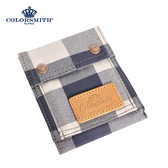 【COLORSMITH】CC・對折零錢短夾-藍灰格紋・WLCC2036-GB