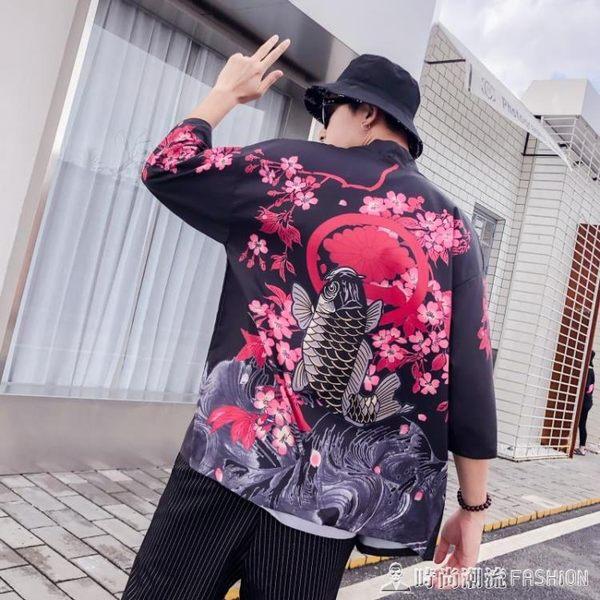 日系復古暗黑浮世繪道袍和服開衫男女中國風寬鬆七分袖襯衣外套潮 時尚潮流