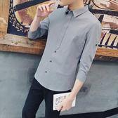 七分袖襯衫韓版修身休閒帥氣7分袖襯衣短袖