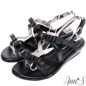 Ann'S雙層甜美蝴蝶結小坡跟涼鞋-黑