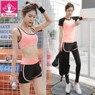 夏季運動套裝女瑜伽服運動三件套跑步健身服...