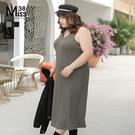 Miss38-(現貨)【A10348】大尺碼過膝長版背心裙 針織洋裝 外穿內搭連身裙 純色彈力百搭-中大尺碼女裝