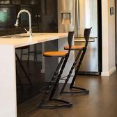 湘舍 北歐實木家用吧臺凳子現代簡約風格酒吧椅前臺高腳凳吧凳