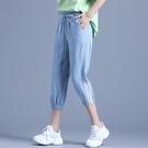 天絲牛仔褲 中褲寬鬆褲子少女夏季薄款七分褲直筒天絲牛仔褲-Ballet朵朵