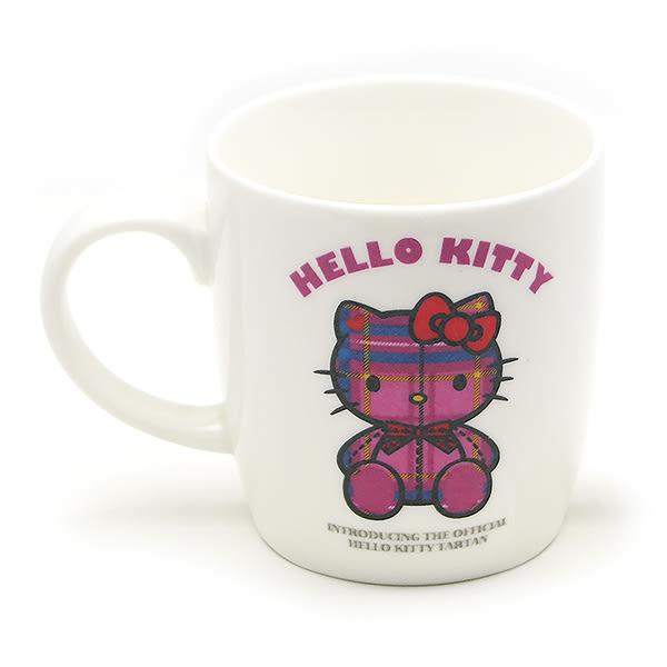 里和Riho Hello Kitty 凱蒂貓馬克杯 格紋款 附同材質立體杯蓋 咖啡杯 水杯 茶杯 杯子 正版商品