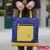 韓國品牌/ SPAO休閒格紋撞色手提袋-共2色