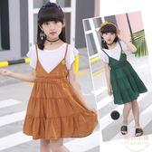 女童夏季連衣裙套裝新款韓版洋氣兒童公主裙時髦假兩件中大童 【店內再反618好康兩天】