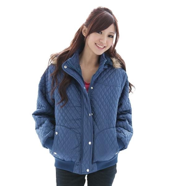 鋪棉連帽外套--冬天的基本必備款-菱格鋪棉毛邊PU鋪棉外套(黑.藍M-2L)-J44眼圈熊中大尺碼
