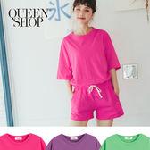 Queen Shop【01084126】夏日色系棉質短袖套裝 三色售*預購*
