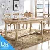 美式鄉村風西里爾6尺白橡全實木餐桌(18I20/A433-01)