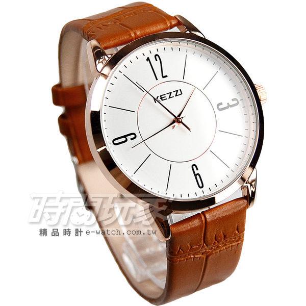 KEZZI珂紫 經典時尚腕錶 皮帶男款 咖啡x玫瑰金 男錶/中性錶/女錶/都適合 KE996玫咖大