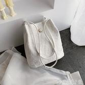蕾絲2019新款手提包購物袋鏤空沙灘包仙女刺繡單肩包包手袋仙女包 安妮塔小鋪