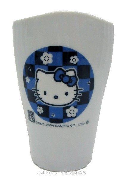 廚房【asdfkitty可愛家】 KITTY (大款) 馬克杯 - 淡藍格紋小花
