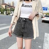 超短裤-煙灰色牛仔短褲女超高腰大碼胖mm2020年夏季薄款寬鬆韓版顯瘦a字