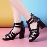 黑色/36 韓版真皮休閒涼鞋 粗跟高跟休閒魚口涼鞋【多多鞋包店】B0070