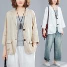 西裝外套 夏季新款文藝復古寬鬆大碼棉麻七分袖西裝外套薄款防曬上衣女 星河光年