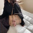 女款單肩斜挎包 通勤清新女生托特包 女款簡約托特包 時尚原創大容量女包大包 撞色格紋手提包