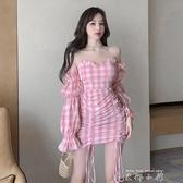 粉色甜美格子洋裝夏季一字肩仙女裙子2020新款收腰氣質包臀短裙