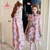夏裝民族風大碼女裝少女寬鬆改良旗袍印花雪紡洋裝連身裙顯瘦巴黎