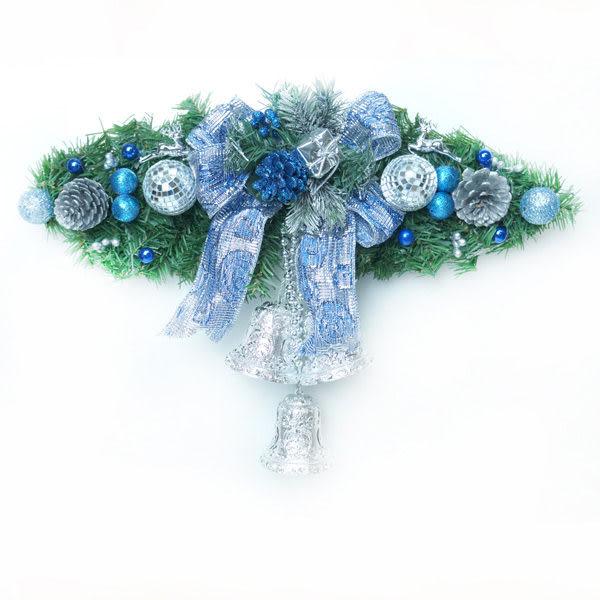 聖誕幸福雙鐘裝飾樹藤(藍銀色)(中型)(壁飾門飾)