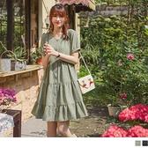 《DA8550-》法式波點拋袖蛋糕裙襬開襟洋裝 OB嚴選