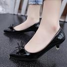 降價兩天 夏季2020新款春夏中跟單鞋 細跟尖頭甜美白色皮鞋高跟蝴蝶結女鞋