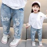 女童破洞牛仔褲3小童春裝4韓版長褲