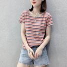 彩虹條紋短袖t恤女2021夏季韓版修身圓領短袖港味復古冰絲針織衫 快速出貨