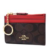 美國正品 COACH 緹花LOGO防刮皮革證件鑰匙零錢包-咖啡色/紅【現貨】