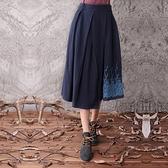 棉麻長裙-獨特文藝刺繡百搭半身女裙子4色73hr14[巴黎精品]