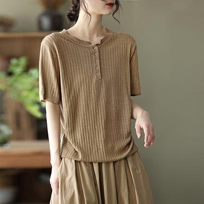 針織麻復古短袖T恤 純色套頭圓領針織衫/4色-夢想家-0329