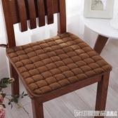 冬季加厚純色毛絨椅子墊四季通用布藝學生坐墊防滑餐椅墊汽車座墊  印象家品