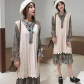 漂亮小媽咪 漂亮小媽咪 韓國洋裝 【D1110】 格紋 長袖 連身洋裝 孕婦裝 雪紡 孕婦洋裝 領口 蝴蝶結