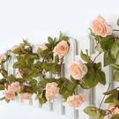 仿真玫瑰花藤條假花藤室內空調管遮擋塑料花...