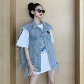 牛仔馬甲 網紅炸街馬甲無袖牛仔外套女寬鬆韓版薄款夏天坎肩夾克工裝上衣潮 韓國時尚 618
